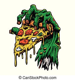 Zombie hand with pizza. Vector illustration