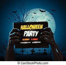 Zombie hands holding a halloween poster ad