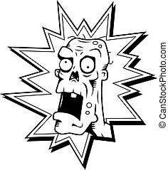 Zombie Head - A cartoon zombie head in a red burst.