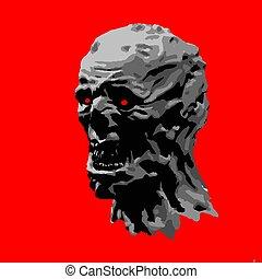 zombie, head., boos, vector, illustration.