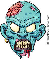 Zombie head - Cartoon zombie head. Vector clip art...
