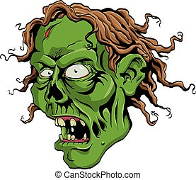 Zombie Head - Creepy Zombie head screaming.