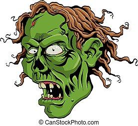 Zombie Head - Creepy Zombie head screaming.