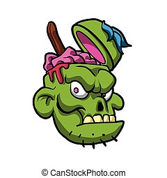 Zombie Head Illustration.