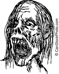 zombie head vector illustration sketch hand drawn with black lines, isolated on white background