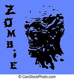 zombie, head., vektor, skrig, illustration.
