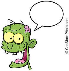 Zombie Head With Speech Bubble