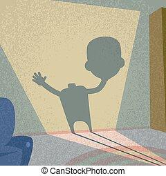 Zombie Headless Hold Head in Hand Shadow Silhouette Retro Shape