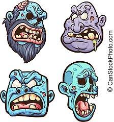Zombie heads - Cartoon zombie heads. Vector clip art...