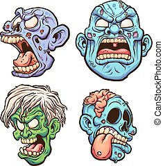 Zombie heads - Cartoon zombie heads with different...