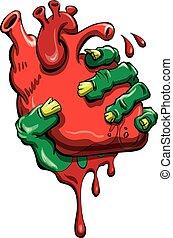 Cartoon Zombie Hand clutching human heart in vector format.