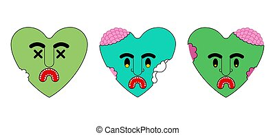 Zombie heart green love. Dead amour Vector illustration