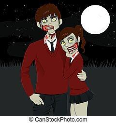 zombie, high school paare