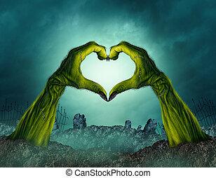 zombie, hjerte form, hånd