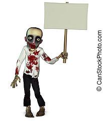Zombie holding blank