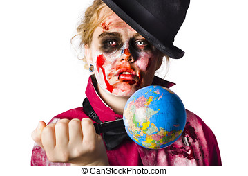 Zombie holding knife in globe - Beaten and bloody zombie...