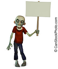 Zombie holding placard