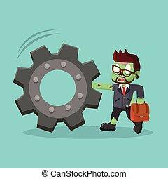 zombie, homem negócios, empurrar, engrenagem