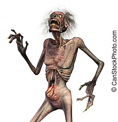 Zombie Horror - A shrieking horrified zombie - 3D render.