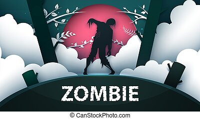 Zombie horror illustration. Cartoon paper landscape.