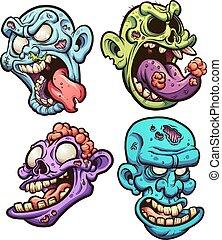 zombie, huvuden