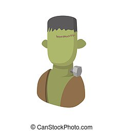 Zombie icon, cartoon style