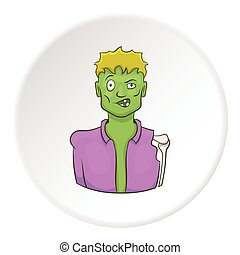 Zombie icon, cartoon style