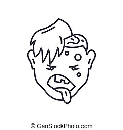 Zombie icon, linear isolated illustration, thin line vector, web design sign, outline concept symbol with editable stroke on white background.