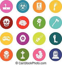 Zombie icons many colors set