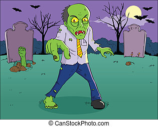 Zombie - Cartoon illustration of a zombie on graveyard