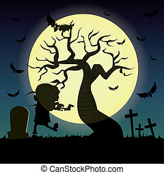 Zombie - abstract zombie silhouette on special halloween...