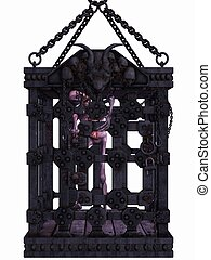 Zombie in a cage - Halloween Figure - 3D Render of an Zombie...