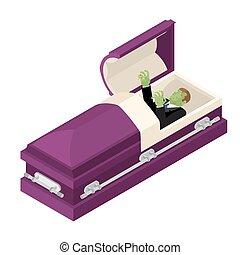 zombie, ind, coffin., grønne, afdødte, mand, liggende, ind,...