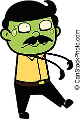 Zombie - Indian Cartoon Man Father Vector Illustration