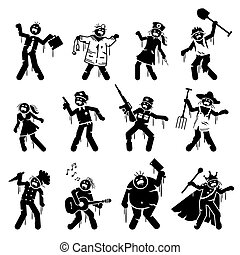 Zombie infected undead character designs.