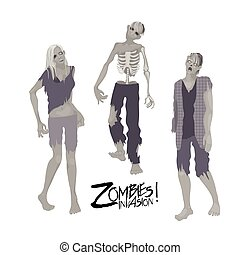 Three zombie characters walking forward - Zombie invasion....