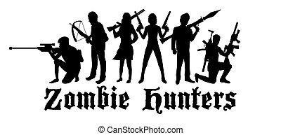 zombie, jäger, halloween, mannschaft