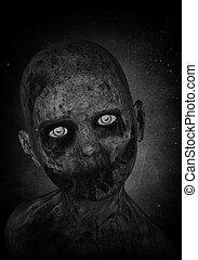 zombie, junge, 3d, abbildung, unheimlicher