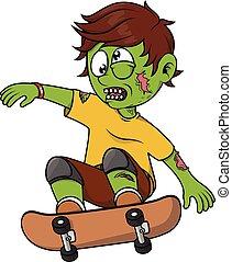 zombie, junge, schlittschuh, spielende , brett