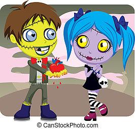 zombie, kärlek, kuslig