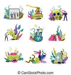 zombie, kald, skabningerne, og, folk, forsvar, sig, vektor