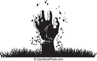 zombie, komen uit, graf, hand