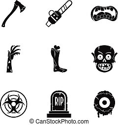 zombie, komplet, styl, prosty, ikona
