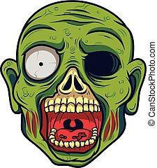 zombie, kopf, karikatur