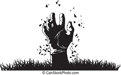 zombie, kropiąc, grób, ręka