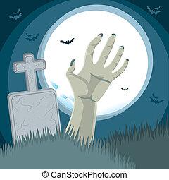 zombie, kyrkogård, hand