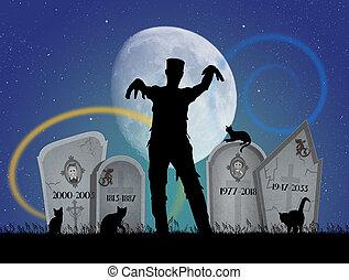 zombie, kyrkogård