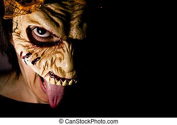 zombie, lebensunterhalt, frau, maske, tot