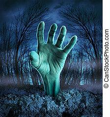 zombie, levantar, mão