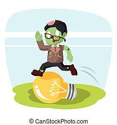 zombie, licht, op, sprong, bol, zakenman